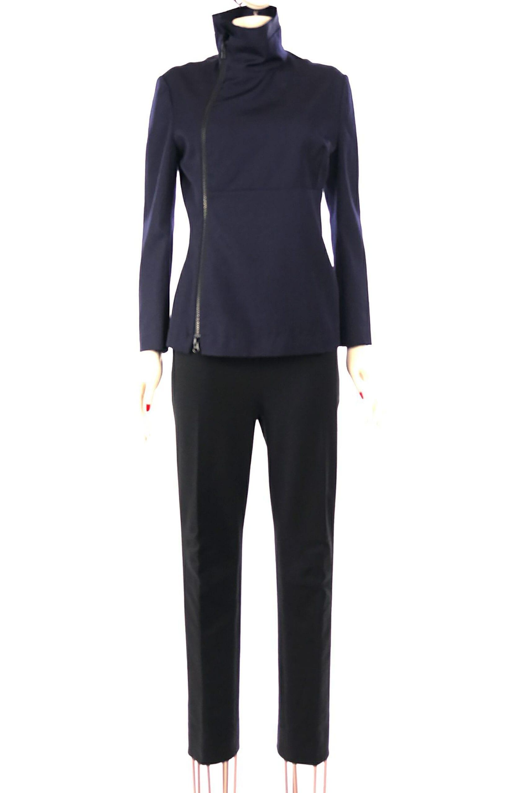 giacca blu con zip sul davanti di yamamoto