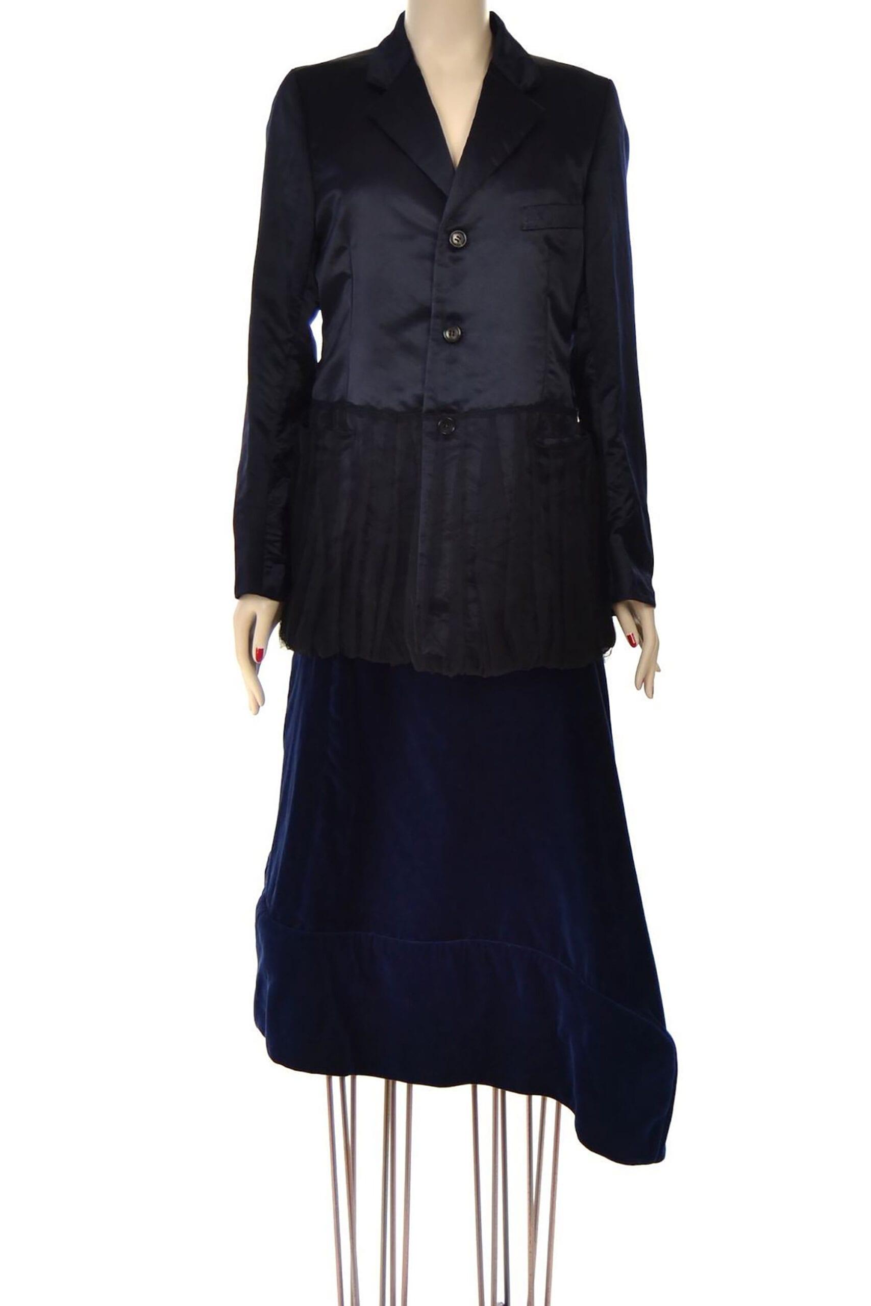giacca raso blu comme des garcons
