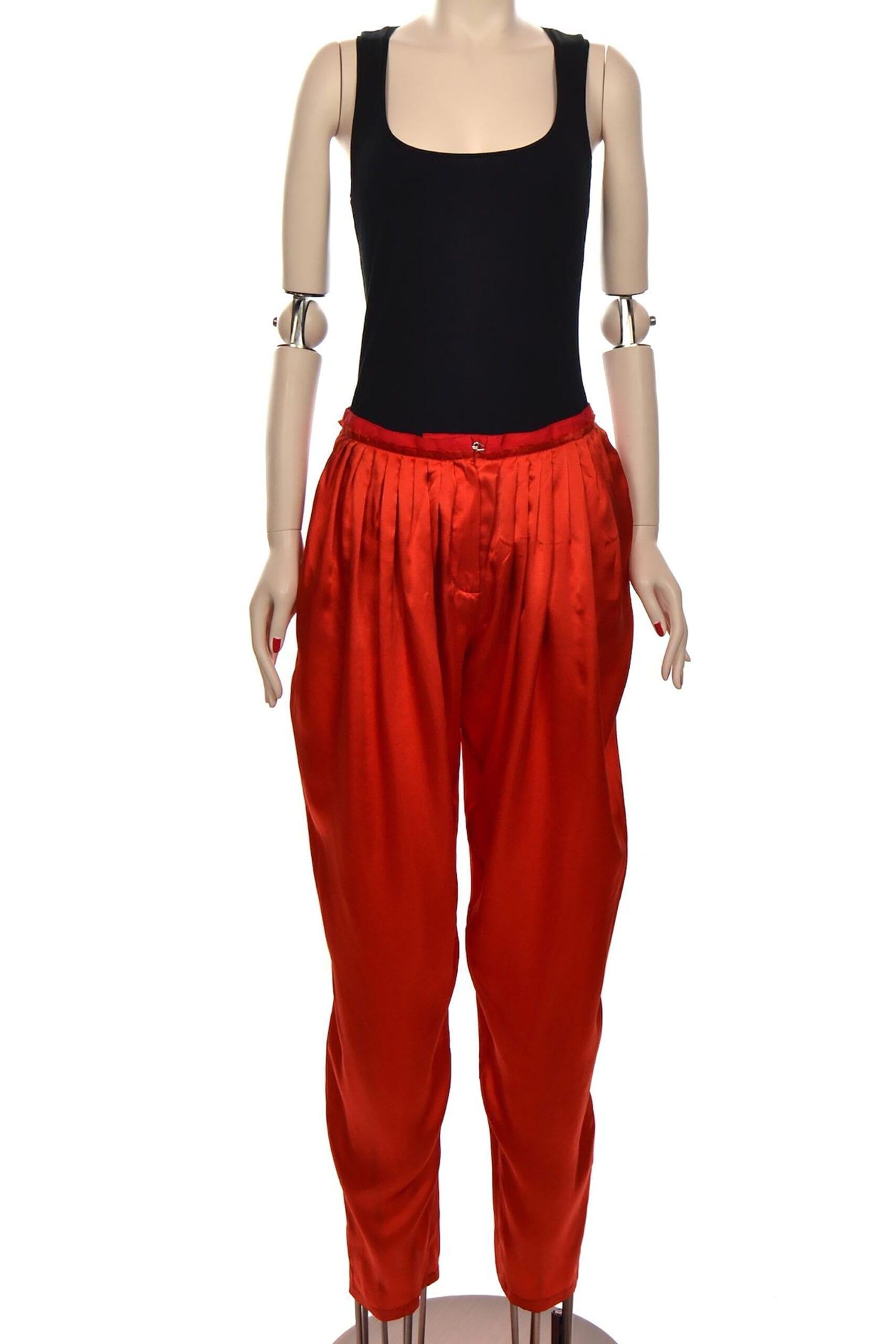 pantaloni raso rossi lavin